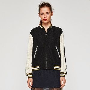 ZARA Lace Letterman Style Jacket in Small